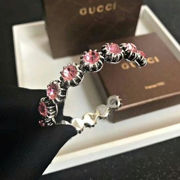 Pink Gucci logo Slub Women carbon AAAA masonry bracelet hand chain in 18K gold plating S925 Silver