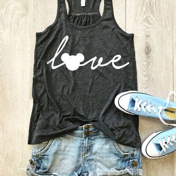 Love Disney. Love Mickey Mouse. Women's Eco Flowy Tanks. Women Clothing. Sheering Back Seam.