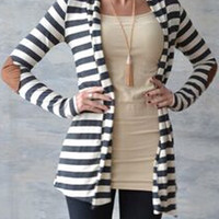 Monochrome Stripe Panel Cardigan