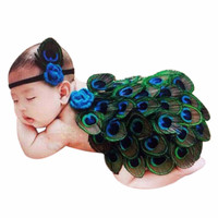 Newborn Baby Photography Props Cute Animal Peacock Feather Photo Props with Headband Costume Outfit INY66