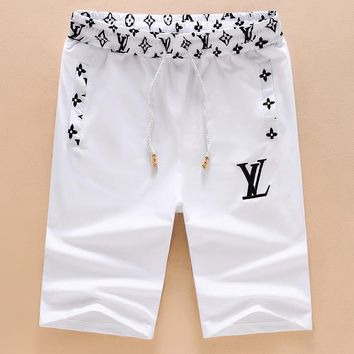 LV Shorts Louis Vuitton Men Sports Leisure Shorts Print Elestic Waistband B-A00FS-GJ White