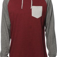 Zine Lucky Burgundy & Grey Hooded Henley Pocket Shirt