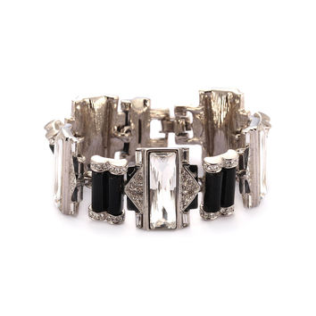 Kenneth Jay Lane Black Onyx Art Deco Bracelet