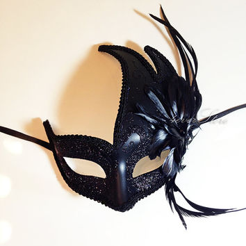 Black Swan Halloween Mask  Black Masquerade Mask by 4everstore