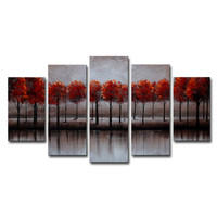 Red Forest Overflow Landscape Canvas Wall Art Oil Painting