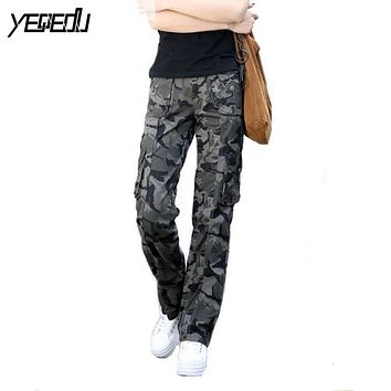 #0905 Spring Summer 2017 Women camouflage pants Casual Female Fashion Military Hip hop trousers women Baggy Cargo pants women