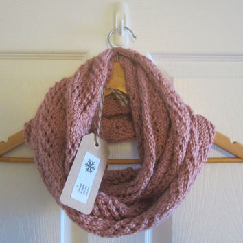Eco Friendly Scarf - Infinity Scarf - Pink Scarf - Super Soft Scarf - Hand Knit Scarf - Circle Scarf - Made in Canada - Knitted Scarf - Cowl
