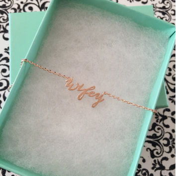 SALE - Rose Gold Wifey Dainty Necklace,Women's Necklace,Rose Gold Necklace,Bridesmaid Gift,Birthday Gift,Valentine's Day Gift,Christmas Gift