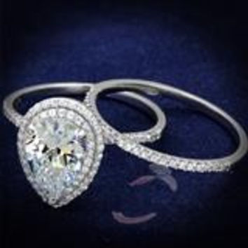 A Perfect 2.5CT Pear Cut Double Halo Russian Lab Diamond Bridal Set Wedding Band Ring