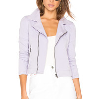 June Distressed Stretch Moto Jacket in Lavender