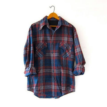 Vintage Plaid Flannel. Wool Flannel. Grunge Shirt. Boyfriend button up shirt.