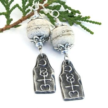 Mystical Monad and Rustic Lampwork Earrings, Handmade Pewter Glyph Sterling Artisan Jewelry