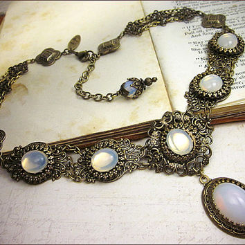 Renaissance Necklace, White Opal, Borgias, Victorian Necklace, Bridal, Medieval Wedding, Bridal Jewelry, Tudor Costume, Your Choice of Color