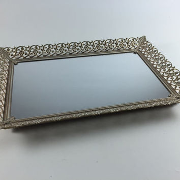 Vintage Mirror Gold Metal Vanity Tray Hollywood Regency Wedding Decor Shabby Chic Filigree With