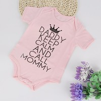 """Dady Keep Calm"" Baby Girl Clothing Cotton Body Suit"