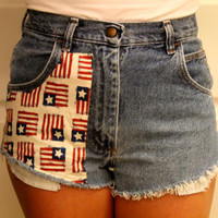 High waisted American Flag ripped shorts by p4pministry on Etsy