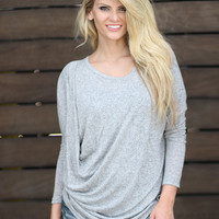 Gray Draped Top