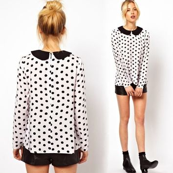Celeb Style Women Doll collar Chiffon Polka Dots Blouse Shirt Long Sleeve Tops