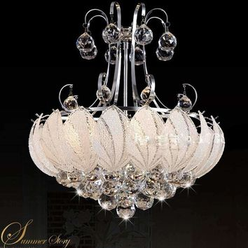 Lotus Flower Glass silvery LED Crystal Chandeliers Lights Ceiling Pendant Lamp W40cm H50cm For Dining Room Bedroom Lighting