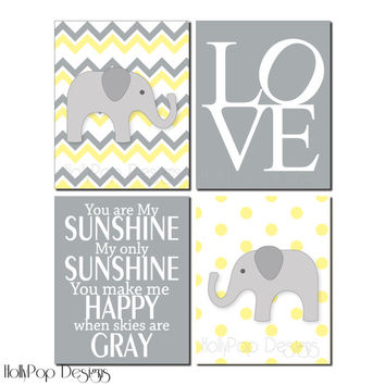 Nursery Wall Decor Childrens Art You Are My Sunsine Yellow