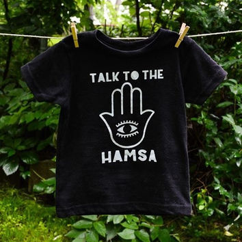 Talk to the Hamsa boho graphic tee