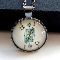 Playing Card pendant, King of Clubs Card pendant, King of Clubs necklace, King of Clubs keychain, skeleton King of Clubs card jewelry