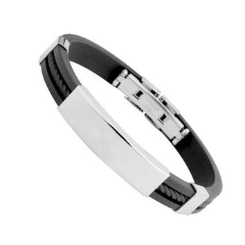 Cool Rock Fashion Black & Bangles Cuff Stainless Steel for Men Style ML1060