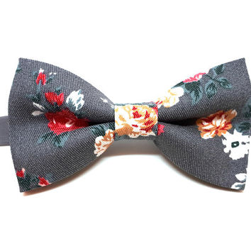Grey Bow Tie - floral bow tie - wedding bow tie - gray bow tie with re and orange flowers - grooms bow tie