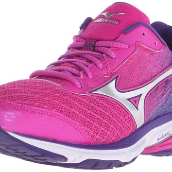 Mizuno Women's Wave Rider 19 Running Shoe Fuchsia Purple/Silver 6 2A(N) US