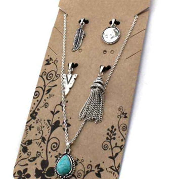Western Theme Interchageable Charm Necklace Set