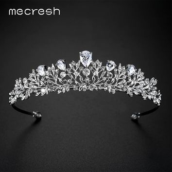 Mecresh Vivid Leaf/Plant CZ Crown and Tiara For Women