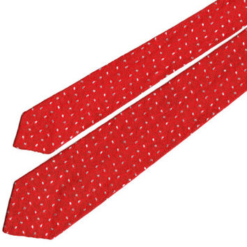 Bright red power tie with silver dots, 56 inches, skinny tie, first job, get noticed,