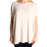 Cream Piko Short Sleeve Top