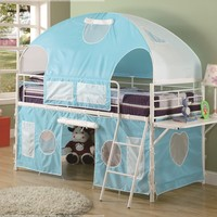 Boys Tent Twin Size Loft Bunk Bed in Light Blue & White Finish:Amazon:Home & Kitchen