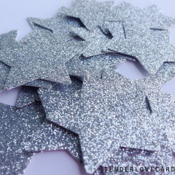 25 Silver Glitter Star Punch Die Cuts 1 3/8 inch - Embellishment, cards, scrapbook, table decoration, confetti