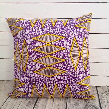 Cushion pillow cover, African wax print  (17 inch) Purple Yellow