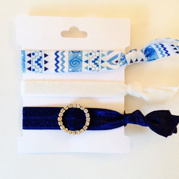 Winter Glitter Hair Tie Set, Tugless Hair Ties in Blue and White with Rhinestone Slide, Blue Aztec Print, Stocking Stuffers or Hannukah Gift
