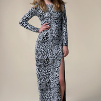 Boutique Liz Monochrome Sequin Split Front Maxi Dress