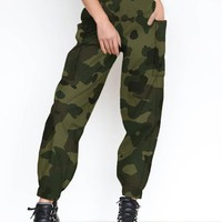 New Army Green Pockets High Waisted Casual Long Pants
