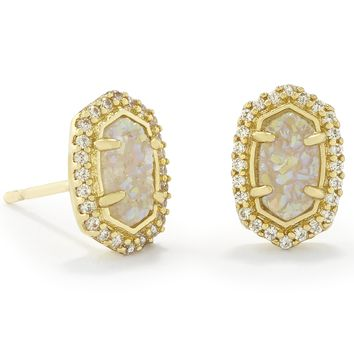 Kendra Scott Cade Iridescent Drusy Gold Plated Stud Earrings