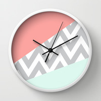 Mint & Coral Chevron Block Wall Clock by dani