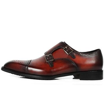 Limited Handmade Custom made Genuine Leather shoe Brogue Office Party Wedding brand Designer Men Monk Shoes