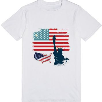 American Flag with statue of liberty