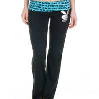 Playboy Foldover Lounge Pants (Large, Turquoise Love Playmate)