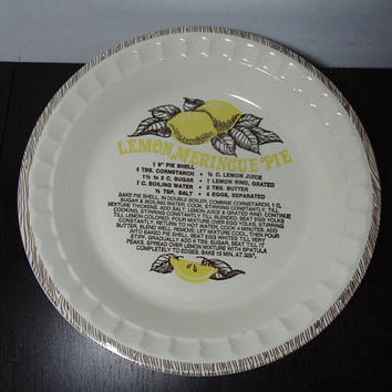 "Vintage Royal China Jeannette Lemon Meringue Recipe 11"" Ceramic Pie Dish/Plate/Pan"