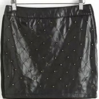 Black Beaded Faux Leather Mini Skirt