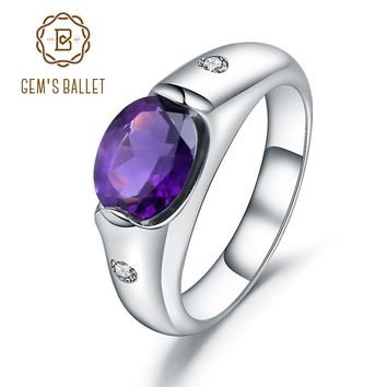 GEM'S BALLET 1.79Ct Natural Purple Amethyst Wedding Ring For Women Genuine Solid 925 Sterling Sliver Gemstone Rings Fine Jewelry
