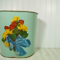 Vintage DecoWare Sea Foam Enamel & Flowers Litho Metal Waste Can - Retro Roses Bouquet Boudoir Bin - Shabby Chic Florals on Soft Blue Paint