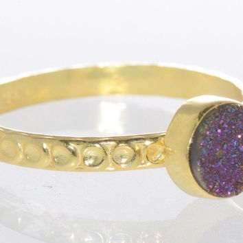 Amethyst Druzy Ring Sterling Silver 18k Gold Plated Purple Multicolor Size 7