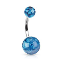 Splatter Paint Belly Ring Navel Ring Acrylic Surgical Steel Body Jewelry 14ga